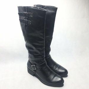 Croft & Barrow Skye Black Leather Knee High Zipper